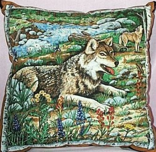 Pillow Home Decor Wolf Wolves By Stream Brown Blue New Ebay
