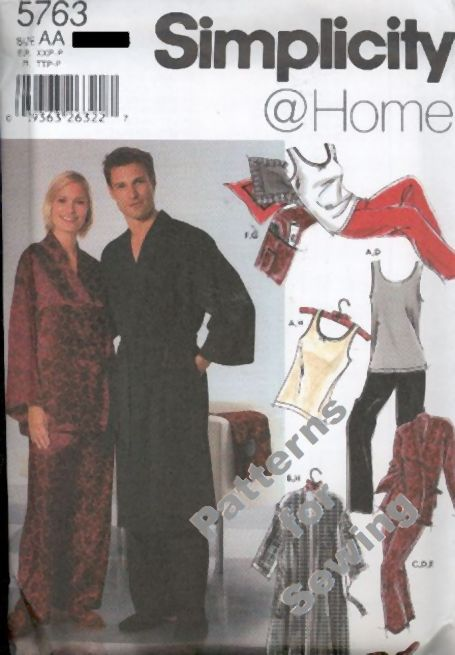 PATTERN Sewing Simplicity Woman Men Teen Pajamas Sizes XXS-S NEW OOP | eBay