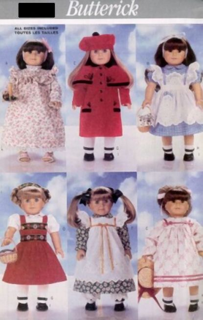 """Pattern Doll Clothes 18"""" inch Coat Pinafore Nightgown Dress 4 American Girl"""